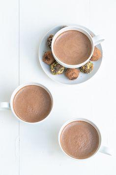 Almond milk spiced hot dark chocolate