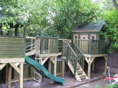 Play Platforms and Tree House Backyard Fort, Backyard Playground, Backyard For Kids, Backyard Projects, Outdoor Projects, Plastic Playground, Backyard Ideas, Kids Playhouse Plans, Outside Playhouse