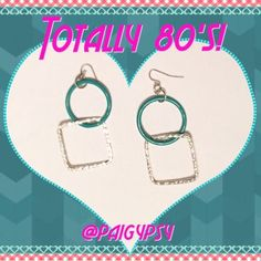 BOGO FREETeal & Silver Geometric Dangle Earrings Buy one get one FREE! Ask me to make a custom bundle listing! Good pre-loved condition. Sanitized.  ***I do not know what type of metal these earrings are made. If you are allergic, please beware. ✅ASK QUESTIONS ✅Bundle ✅Offers ❌NO Trades ❌NO Off-site Transactions Jewelry Earrings