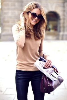 Winter style: camel sweater + black skinnies