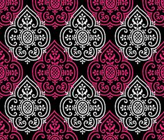 Lace Medallion Courtesan and White on Black fabric by peacoquettedesigns on Spoonflower - custom fabric