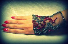 OOAK Hand Beaded Lace Cuff in Red & Grey Silver by YovankaBlack