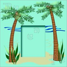 Illustration of tropical beach scrapbook frame palm trees and sand