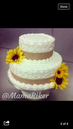 Small wedding sunflower cake