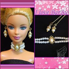 "handmade barbie doll jewelry necklace earrings for 12"" barbie dolls #Unbranded"