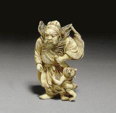 Two Ivory Netsuke and an Ivory Hidden Christian (Kakure Kirishitan ...