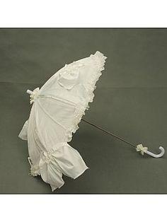 Elfenbein Satin Hochzeit Regenschirm mit Bogen und Rüschen - EUR 13,67€