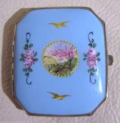 Vintage  Silver T  Blue Enamel Hand Painted Scene 14 K Gold Bird Purse Compact
