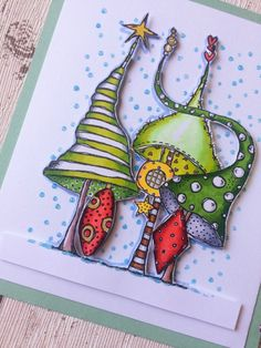 Innovative creativity from PaperArtsy. Paint, stencils, and techniques galore for any mixed media enthusiast to enjoy. Christmas Drawing, Christmas Paintings, Christmas Art, Textiles Sketchbook, Christmas Favors, Happy Paintings, Zentangle Patterns, Card Making Inspiration, Xmas Cards