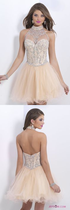 Halter A-Line Short/Mini Homecoming Dresses With Beads Tulle  Item Code:#JRP4C8J58B