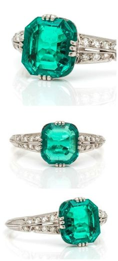 An Art Deco Platinum, Colombian Emerald and Diamond Ring, Tiffany & Co., containing one octagonal step cut emerald with diamonds. Emerald Jewelry, Gold Jewelry, Jewelery, Fine Jewelry, Emerald Rings, Art Deco Ring, Art Deco Jewelry, Edwardian Jewelry, Vintage Jewelry