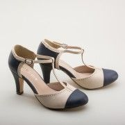 1920s Style Shoes  Galaxy Two-Tone T-strap Shoes by Chelsea Crew NavyCream $65.00 AT vintagedancer.com