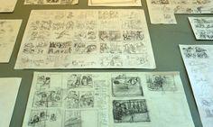 """Tavole e appunti sparsi da """"L'argine"""" fumetto in preparazione di Marina Girardi e Rocco Lombardi sulla rete dell'ospitalità e solidarietà cotignolese e sui giorni del fronte sul Senio che assediano e schiacciano Cotignola tra due eserciti, in mostra a palazzo Sforza dal 9 al 25 aprile 2015; il fumetto è stato commissionato in occasione del 70° anniversario della Liberazione."""