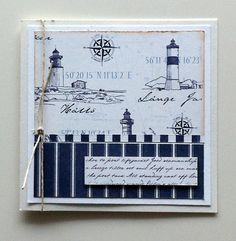 "card - nautical sea ocean marine lighthouse - Maja Design paper; ""Life by the Sea"" paper collection  #majadesign - JKE"