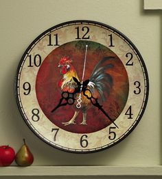Vintage Look Farmhouse Rooster Kitchen Plate Wall Clock