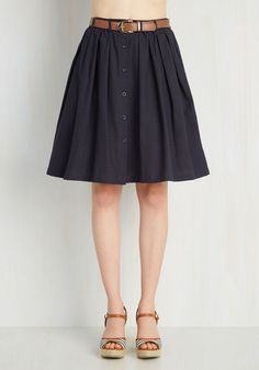 Living the Dream Skirt in Navy - Mid-length, Blue, Solid, Buttons, Pleats, Belted, Casual, A-line, Variation, Work, 80s, 90s, Scholastic/Collegiate, High Waist, Spring, Summer, Cotton, Woven, Good, Blue, Exclusives