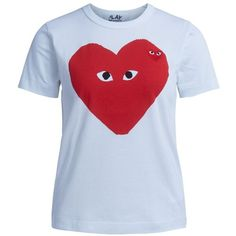 Comme des Garcons Play Short Sleeve T-Shirts ($78) ❤ liked on Polyvore featuring tops, t-shirts, bianco, short sleeve tee, blue tee, blue t shirt, blue top and short sleeve tops