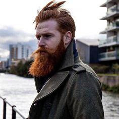 Gwilym Pugh - full thick red beard and mustache beards bearded man men mens' style model winter fashion diesel clothing bearding redhead ginger #beardsforever