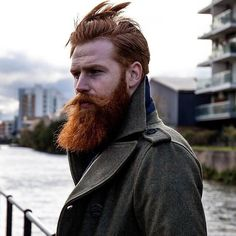Gwilym Pugh - full thick red beard and mustache beards bearded man men mens' style model winter fashion diesel clothing bearding redhead ginger #beardsforever