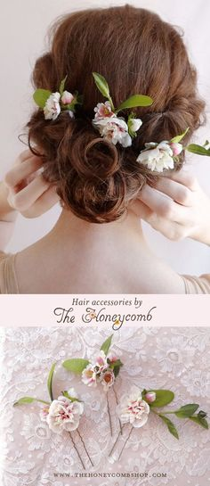 Flowers in hair for wedding. Purchase these pretty hair pins from The Honeycomb shop online. 3 matching pins with small ivory and pink peonies, with green leafy foliage. Made by Bee Kern at The Honeycomb.