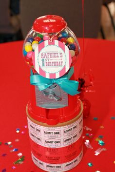 Gumball centerpiece at a Circus birthday party! See more party ideas at CatchMyParty.com!