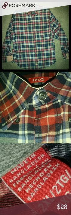 IZOD- PLAID BUTTON DOWN SHIRT SIZE XXL IZOD MEN CASUAL BUTTON DOWN SHIRT NO SIGN OF WEAR IZOD Shirts Casual Button Down Shirts