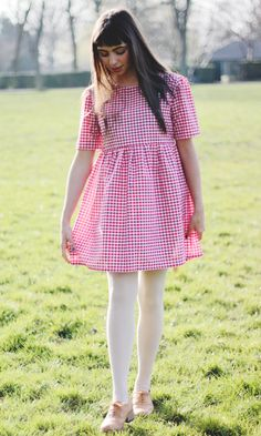 Red Gingham Smock Dress // Trapeze Babydoll by VintageStyleMe, White Tights, Colored Tights, Red Gingham, Gingham Dress, Red And White Dress, Sexy Teens, Smock Dress, Feminine Style, Baby Dress