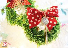 Miniature Tinsel Wreaths /// could be attached to presents for decoration www.PositivelySplendid.com