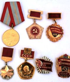Soviet Vintage Badges / Pins / Awards / Medals - Set of 7 - Soviet Army and Work Service Insignia - from Russia / Soviet Union / USSR