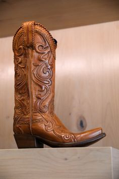 When craftsmanship meets elegance. Cowgirl Style, Cowgirl Boots, Western Boots, Leather Tooling, Tooled Leather, Horse Saddles, Pairs, Elegant, Heels