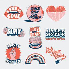 Illustration + Typography Grand-matter-stickers_illustration-itsnicethat-tobytriumph Your Wedding Bu Tumblr Stickers, Cute Stickers, Brand Stickers, Logo Stickers, B&w Tumblr, Logo Fleur, Web Design, Logo Design, Design Girl