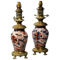 Pair of 19th Century Japanese Lamps | From a unique collection of antique and modern table lamps at https://www.1stdibs.com/furniture/lighting/table-lamps/
