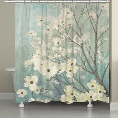 Laural Home Dogwood Floral Shower Curtain