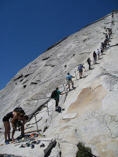 Half Dome in Yosemite. This is the last 400 feet to the top. Nearly vertical. Yep...I'm gonna do this!