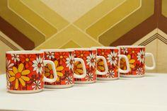 70s Vintage Flower Power Mug  Flowers Porcelain by RingRingVintage