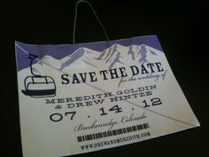 Creative Save the Date Idea for Avid Skiers: Ski Lift Pass