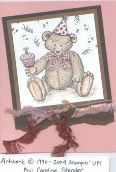 Button Bear by Stampin' Up! Cupcake Birthday card