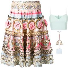 Manish Arora - Jewel Sequined Floral Skirt Style by twinklebluegem on Polyvore featuring Topshop, Manish Arora, Forever New and Whistles