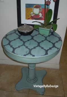 Cafe Table hand painted in Annie Sloan chalk by VintageByReDesign, $147.00