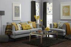 Yellow and grey living room scheme (via www.thetreasurehunteruk.com homes and shopping blog)