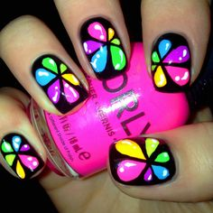 'Neon Rainbow Drops' Nail-Art by Amy of A Different Shade of Polish - blog on tumblr(2014)<3<3FAB!<3<3