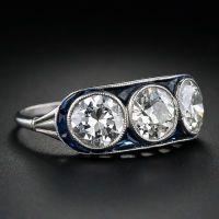 Art Deco Three Stone Diamond and Sapphire Ring at 1stdibs