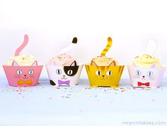 Cup Cats! Cupcake Wrappers - Mr Printables