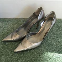 Final Sale!! Nine West silver heel size 6 1/2 Nine West silver pointed toe heel size 6 1/2. All wear is on bottom. Shown in picture. Nine West Shoes Heels