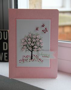 Stampin Up UK Demonstrator Zoe Tant blog: Happy Birthday Mum!:  Sheltering Tree stamp set:  Endless Birthday Wishes stamp set:  Awesomely Artistic stamp set:  Beautiful Wings Embosslit (retired):  Extra Small Flower Punch from Tree Builder Punch:  Faux Stitching:  GORGEOUS!
