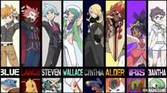 Who was the most hard to beat? For me it was Cynthia, that team balance was hellish. Gotta Catch Them All, Catch Em All, Pokemon Images, Pokemon Pictures, Pokemon Ships, Pokemon Fan, Pokemon Cynthia, Pokemon Champions, Pokemon Universe