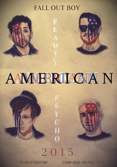 Fall Out Boy American Beauty/American Psycho illustration. So great, except Patrick doesn't look quite right.......and he's my favorite ugh.