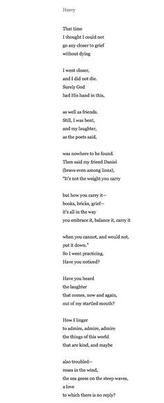 Heavy by Mary Oliver