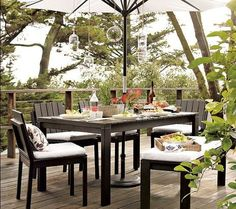 Wood-Slat Dining Collection - modern - outdoor tables - West Elm