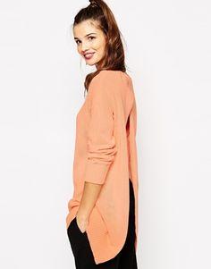 Daisy Street Fine Gauge Sweater With Open Split Back